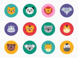 Facce di animali della fauna selvatica del fumetto vettore