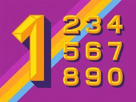 Numeri di scalpello in oro piatto vettore