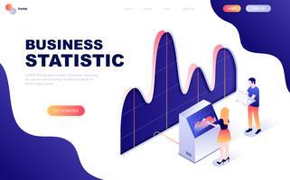 Concetto isometrico moderno design piatto di statistica aziendale