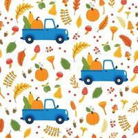 modello vettoriale senza soluzione di continuità con zucche in auto, foglie che cadono