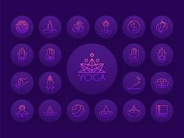 Insieme dell'icona di vettore del profilo di gradiente di yoga