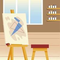 studio d'arte di classe di pittura con pennello per sedia da cavalletto in tela vettore