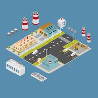 Gli edifici industriali isometrici hanno messo l'illustrazione di vettore