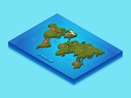 Mappa internazionale isometrica 3D vettore