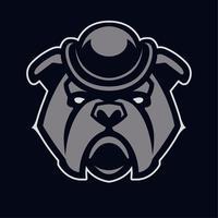 Bulldog nell'icona di vettore della mascotte del cappello