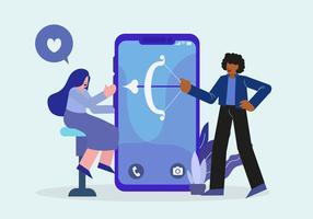 Giovani sull'illustrazione mobile di vettore di App in linea di datazione