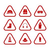 Set di icone monocromatiche di equipaggiamento protettivo personale
