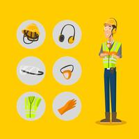 Set di icone di carattere di equipaggiamento protettivo personale vettore
