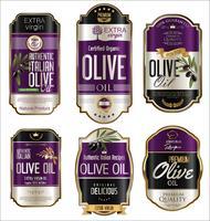Retro raccolta dorata d'annata del fondo dell'olio d'oliva vettore