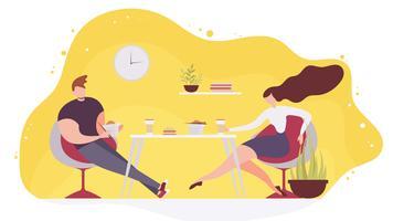 Coppie che mangiano alimenti a rapida preparazione nel vettore piano del caffè