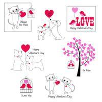 simpatici animali grafica di San Valentino vettore