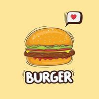illustrazione colorata disegnata a mano di hamburger di formaggio vettore