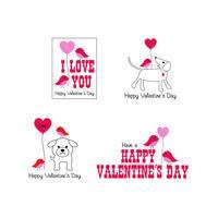 simpatici uccelli e cani grafica di San Valentino vettore
