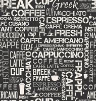 Mattonelle senza cuciture del fondo delle parole e dei simboli del caffè