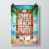 Progettazione dell'aletta di filatoio del partito della spiaggia di estate di vettore con gli elementi tipografici sul fondo di legno di struttura.