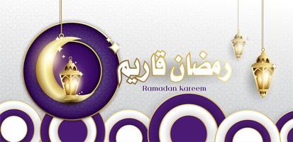 Design elegante di Ramadan Kareem con appesi lanterne Fanoos e sfondo Moschea