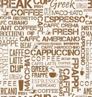 Mattonelle senza cuciture del fondo delle parole e dei simboli del caffè vettore