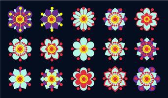 Set di fiori vintage blu.
