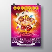 Il disegno di vettore Party Flyer su un tema di Casino con chip e dadi