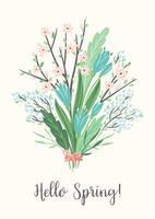 Illustrazione vettoriale con bouquet di primavera. Design per poster, carta, invito, cartello, brochure, flyer.