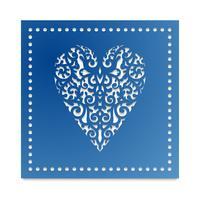 Modello cuore con fiori per il taglio laser, truciolare scrapbooking. vettore