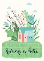 Illustrazione sveglia con landckape di primavera. Disegno vettoriale