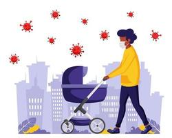 uomo di colore che cammina con il bambino durante la pandemia. uomo in maschera facciale. vettore