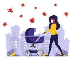 donna nera in maschera facciale che cammina con carrozzina durante la pandemia vettore