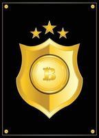 distintivo di valuta cripto bitcoin con scudo d'oro e stelle vettore