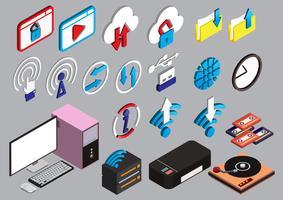 l'illustrazione delle icone del computer grafico di informazioni ha fissato il concetto