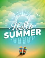 Vector l'illustrazione su un tema di vacanza estiva sul fondo di vista sul mare.