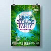 Vector Summer Beach Party Flyer Design con design tipografico
