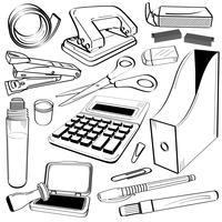 Doodle di strumenti di cancelleria per ufficio.