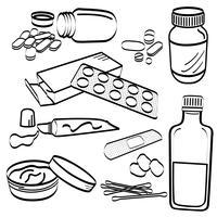 Doodles di prodotti medici. vettore