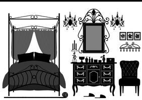 Mobili antichi della camera da letto reale. vettore