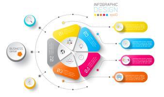 Etichette di affari infographic su cerchi e barra verticale.