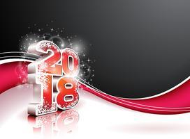 Illustrazione del buon anno 2018 su fondo nero