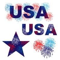 Grafica USA con fuochi d'artificio blu bianco rosso