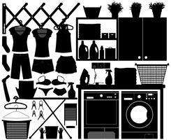 Set di design per la lavanderia. vettore