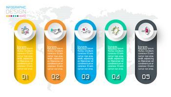 Infografica di affari con 5 passaggi. vettore