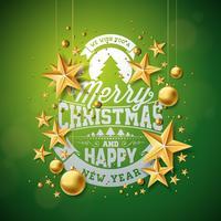 Illustrazione di buon Natale con ornamenti in vetro oro