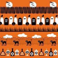 modelli di confine di halloween in bianco e nero vettore