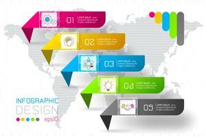 Le etichette variopinte di rettangolo di affari modellano la barra orizzontale infographic. vettore