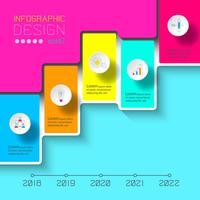 Infographics di vettore sulla linea di tempo o processo di passaggi.