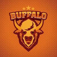 mascotte logo testa di bufalo vettore