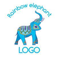 Logo Emblema dell'elefante multicolore per la tua attività vettore