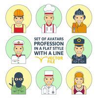 Set di stile piatto colorato persone diverse professione
