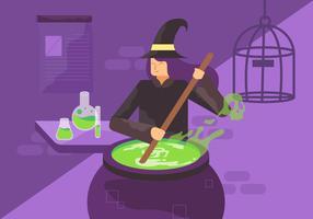 Strega che fa l'illustrazione del carattere di vettore della pozione magica