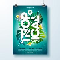Tropical Party Flyer Design con fiori e piante tropicali