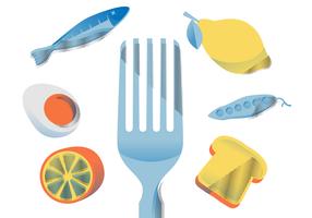 Illustrazione piana di vettore sano di nutrizione dell'alimento